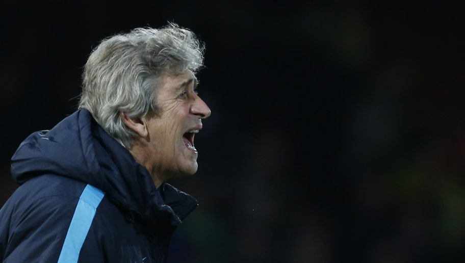 Manchester City's Chilean manager Manuel Pellegrini shouts from the touchline during the English Premier League football match between West Ham United and Manchester City at The Boleyn Ground in Upton Park, in east London on January 23, 2016. AFP PHOTO / IKIMAGES  RESTRICTED TO EDITORIAL USE. No use with unauthorised audio, video, data, fixture lists, club/league logos or 'live' services. Online in-match use limited to 45 images, no video emulation. No use in betting, games or single club/league/player publications. / AFP / IKIMAGES / IKIMAGES        (Photo credit should read IKIMAGES/AFP/Getty Images)