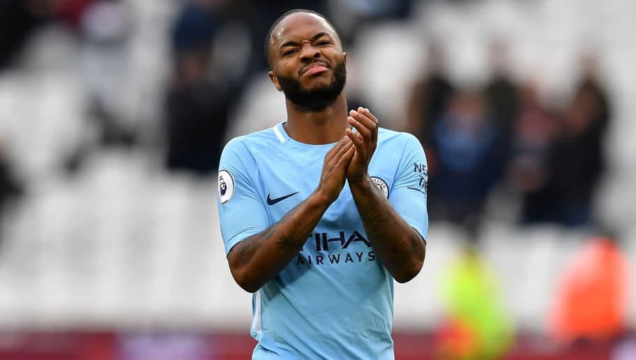 Manchester City's English midfielder Raheem Sterling applauds supporters on the pitch after the English Premier League football match between West Ham United and Manchester City at The London Stadium, in east London on April 29, 2018. - Manchester City won the game 4-1. (Photo by Ben STANSALL / AFP) / RESTRICTED TO EDITORIAL USE. No use with unauthorized audio, video, data, fixture lists, club/league logos or 'live' services. Online in-match use limited to 75 images, no video emulation. No use in betting, games or single club/league/player publications. /         (Photo credit should read BEN STANSALL/AFP/Getty Images)