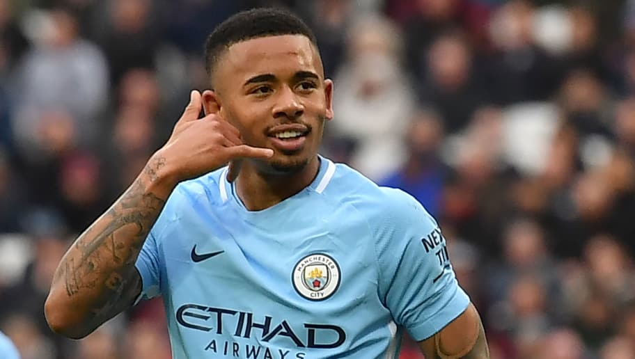 Manchester City's Brazilian striker Gabriel Jesus celebrates after scoring their third goal during the English Premier League football match between West Ham United and Manchester City at The London Stadium, in east London on April 29, 2018. (Photo by Ben STANSALL / AFP) / RESTRICTED TO EDITORIAL USE. No use with unauthorized audio, video, data, fixture lists, club/league logos or 'live' services. Online in-match use limited to 75 images, no video emulation. No use in betting, games or single club/league/player publications. /         (Photo credit should read BEN STANSALL/AFP/Getty Images)
