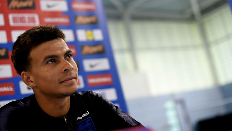 England's midfielder Dele Alli attends a open media day at St George's Park in Burton-on-Trent on June 5, 2018, ahead of their international friendly football matches against Costa Rica. (Photo by Paul ELLIS / AFP) / NOT FOR MARKETING OR ADVERTISING USE / RESTRICTED TO EDITORIAL USE        (Photo credit should read PAUL ELLIS/AFP/Getty Images)