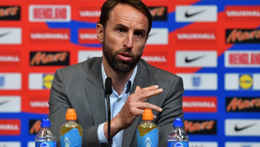 England's manager Gareth Southgate attends a press conference at Wembley in north London on May 17, 2018, following the annnouncement of England's 23-man squad for the World Cup. (Photo by Ben STANSALL / AFP) / NOT FOR MARKETING OR ADVERTISING USE / RESTRICTED TO EDITORIAL USE        (Photo credit should read BEN STANSALL/AFP/Getty Images)