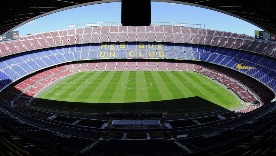 Interior view taken on March 14, 2013 of the Camp Nou stadium in Barcelona.  AFP PHOTO / JOSEP LAGO        (Photo credit should read JOSEP LAGO/AFP/Getty Images)