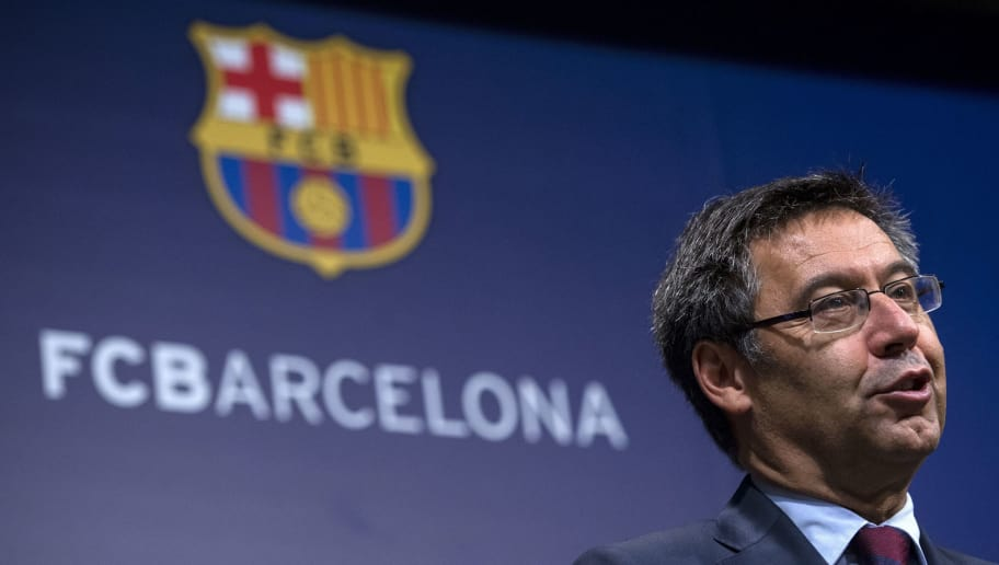 FC Barcelona's president Josep Maria Bartomeu speaks during a press conference at the Camp Nou stadium in Barcelona on October 2, 2017. Barcelona president Josep Maria Bartomeu confirmed today two of the club's board members resigned in the wake of his decision to play a match behind closed doors after a violent crackdown by police of an independence referendum for Catalonia yesterday. / AFP PHOTO / Josep LAGO        (Photo credit should read JOSEP LAGO/AFP/Getty Images)