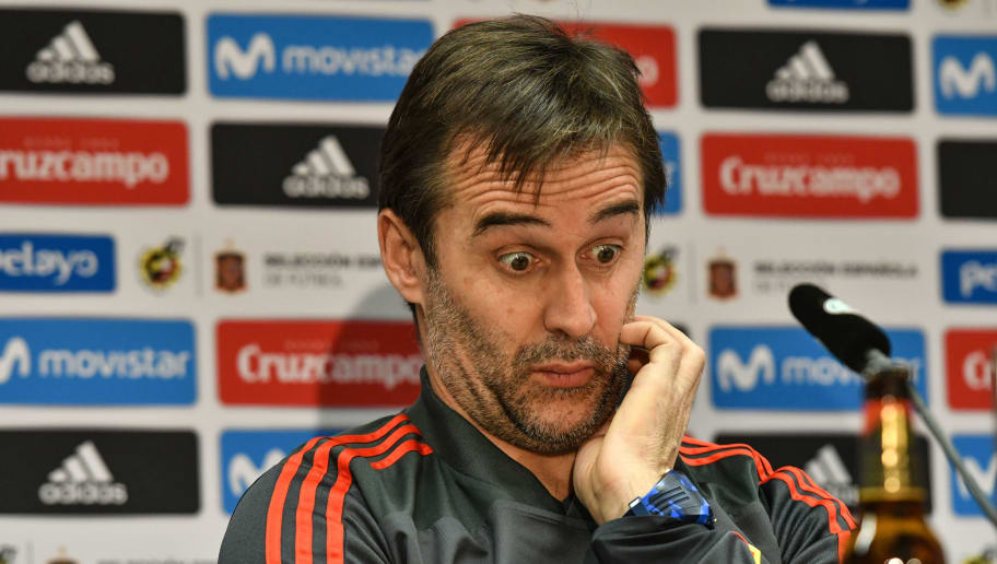Spain's headcoach Julen Lopetegui reacts during a press conference of Spain on the eve of their international friendly match against Germany at Paul-Janes-Stadion on March 22, 2018 in Duesseldorf, Germany.  / AFP PHOTO / Patrik STOLLARZ        (Photo credit should read PATRIK STOLLARZ/AFP/Getty Images)
