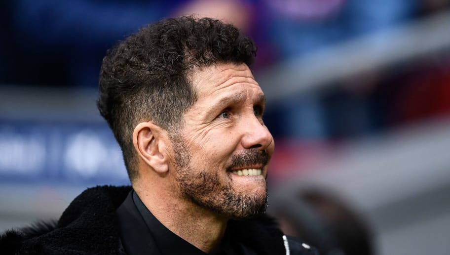 Atletico Madrid's Argentinian coach Diego Simeone looks on before the Spanish League football match between Club Atletico de Madrid and RCD Espanyol at the Wanda Metropolitano stadium in Madrid on Decemeber 22, 2018. (Photo by OSCAR DEL POZO / AFP)        (Photo credit should read OSCAR DEL POZO/AFP/Getty Images)