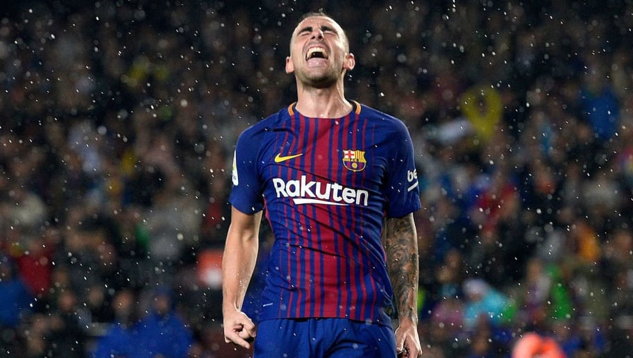 Barcelona's Spanish forward Paco Alcacer celebrates after scoring a goal during the Spanish league football match FC Barcelona vs Sevilla FC at the Camp Nou stadium in Barcelona on November 4, 2017. / AFP PHOTO / Josep LAGO        (Photo credit should read JOSEP LAGO/AFP/Getty Images)