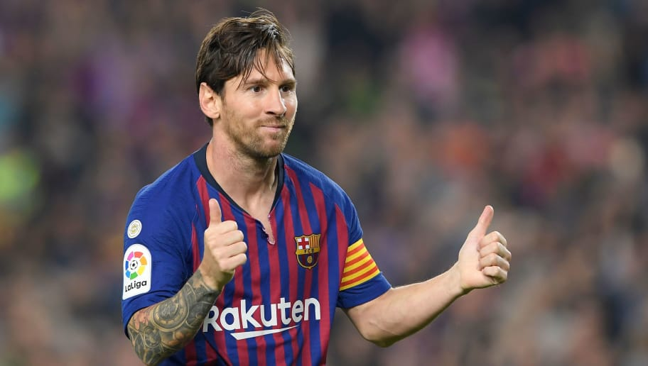 Barcelona's Argentinian forward Lionel Messi celebrates after scoring during the Spanish league football match FC Barcelona against Sevilla FC at the Camp Nou stadium in Barcelona on October 20, 2018. (Photo by LLUIS GENE / AFP)        (Photo credit should read LLUIS GENE/AFP/Getty Images)