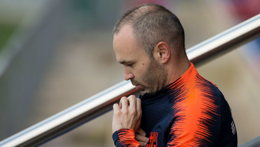 Barcelona's Spanish midfielder Andres Iniesta arrives for a training session on the eve of the Spanish league football match FC Barcelona vs Real Madrid CF at the FC Barcelona Joan Gamper sports center in Sant Joan Despi on May 5, 2018. (Photo by Josep LAGO / AFP)        (Photo credit should read JOSEP LAGO/AFP/Getty Images)