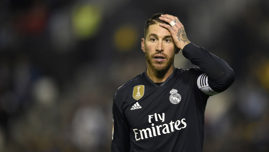Real Madrid's Spanish defender Sergio Ramos gestures during the Spanish league football match between RC Celta de Vigo and Real Madrid CF at the Balaidos stadium in Vigo on November 11, 2018. (Photo by MIGUEL RIOPA / AFP)        (Photo credit should read MIGUEL RIOPA/AFP/Getty Images)