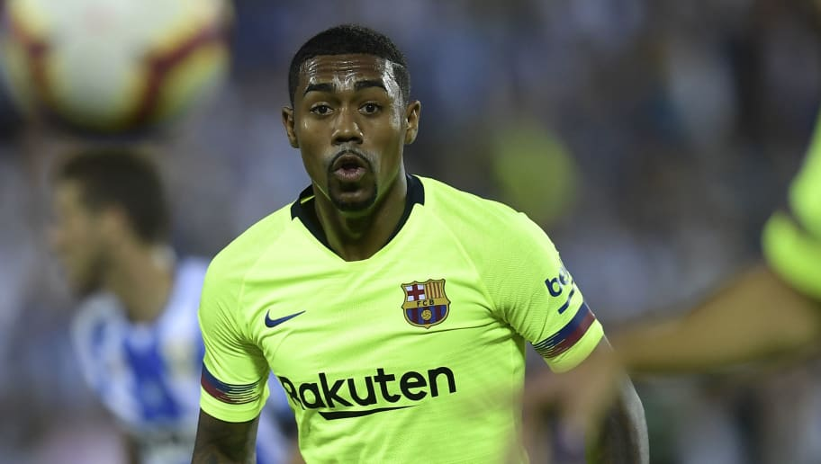 Barcelona's Brazilian midfielder Malcom eyes the ball during the Spanish league football match Club Deportivo Leganes SAD against FC Barcelona at the Estadio Municipal Butarque in Leganes on the outskirts of Madrid on September 26, 2018. (Photo by OSCAR DEL POZO / AFP)        (Photo credit should read OSCAR DEL POZO/AFP/Getty Images)
