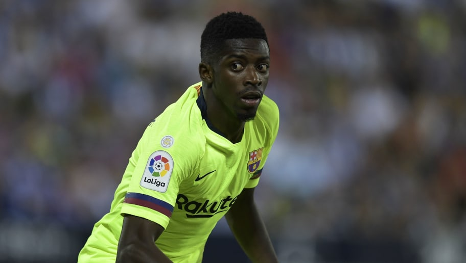 Barcelona's French forward Ousmane Dembele looks on during the Spanish league football match Club Deportivo Leganes SAD against FC Barcelona at the Estadio Municipal Butarque in Leganes on the outskirts of Madrid on September 26, 2018. (Photo by OSCAR DEL POZO / AFP)        (Photo credit should read OSCAR DEL POZO/AFP/Getty Images)