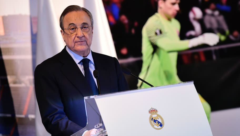 Real Madrid president Florentino Perez speaks during the official presentation of Real Madrid's new Ukrainian goalkeeper Andriy Lunin (picture) at the Santiago Bernabeu Stadium in Madrid on July 23, 2018. (Photo by JAVIER SORIANO / AFP)        (Photo credit should read JAVIER SORIANO/AFP/Getty Images)