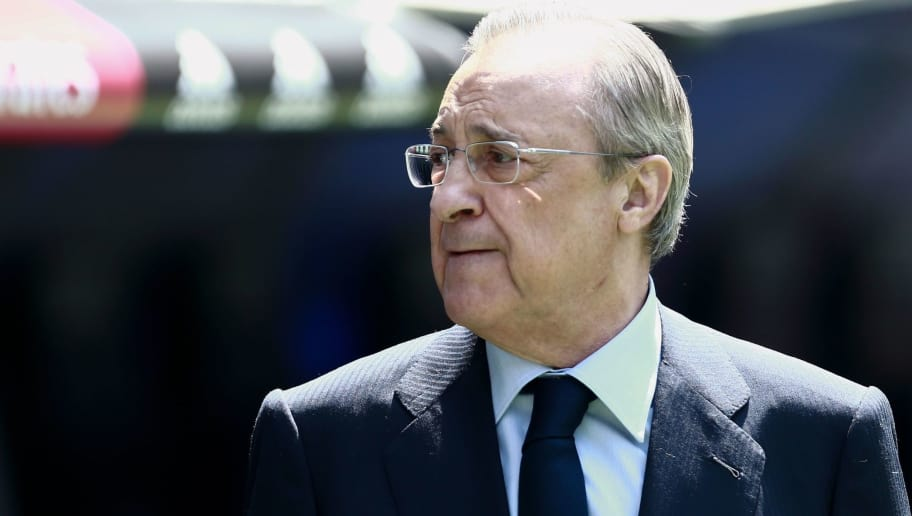 Real Madrid president Florentino Perez walks on the pitch during the official presentation of Real Madrid's Spanish-Dominican forward Mariano at the Santiago Bernabeu Stadium in Madrid on August 31, 2018. (Photo by BENJAMIN CREMEL / AFP)        (Photo credit should read BENJAMIN CREMEL/AFP/Getty Images)