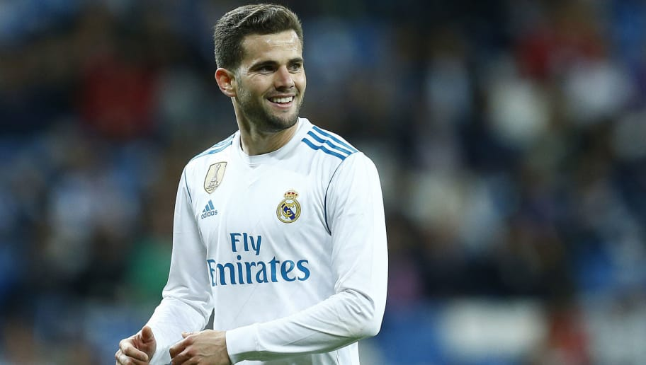 Real Madrid's Spanish defender Nacho Fernandez smiles during the Spanish league football match between Real Madrid and Celta Vigo at the Santiago Bernabeu Stadium in Madrid on May 12, 2018. (Photo by Benjamin CREMEL / AFP)        (Photo credit should read BENJAMIN CREMEL/AFP/Getty Images)