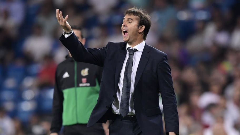 Real Madrid's Spanish coach Julen Lopetegui reacts during the Spanish League football match between Real Madrid and Getafe at the Santiago Bernabeu stadium in Madrid on August 19, 2018. (Photo by JAVIER SORIANO / AFP)        (Photo credit should read JAVIER SORIANO/AFP/Getty Images)