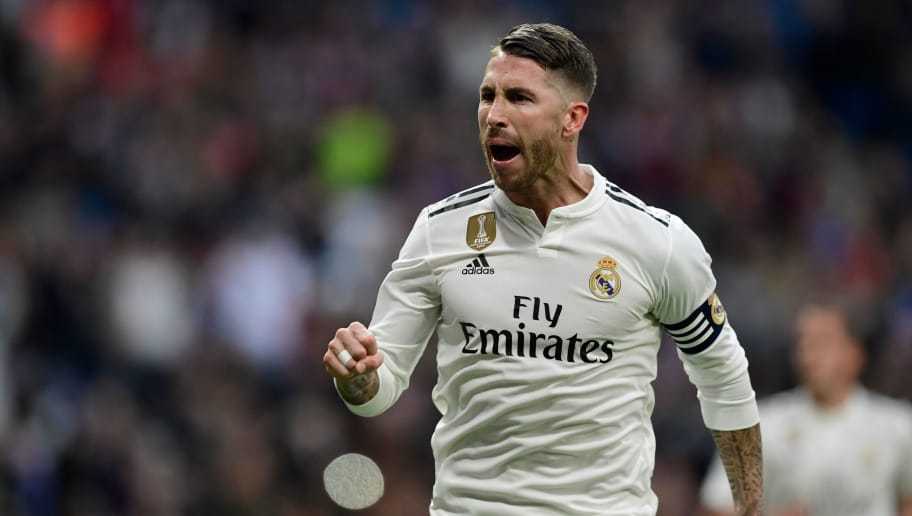 Real Madrid's Spanish defender Sergio Ramos celebrates scoring their second goal during the Spanish league football match between Real Madrid CF and Real Valladolid FC at the Santiago Bernabeu stadium in Madrid on November 3, 2018. (Photo by JAVIER SORIANO / AFP)        (Photo credit should read JAVIER SORIANO/AFP/Getty Images)