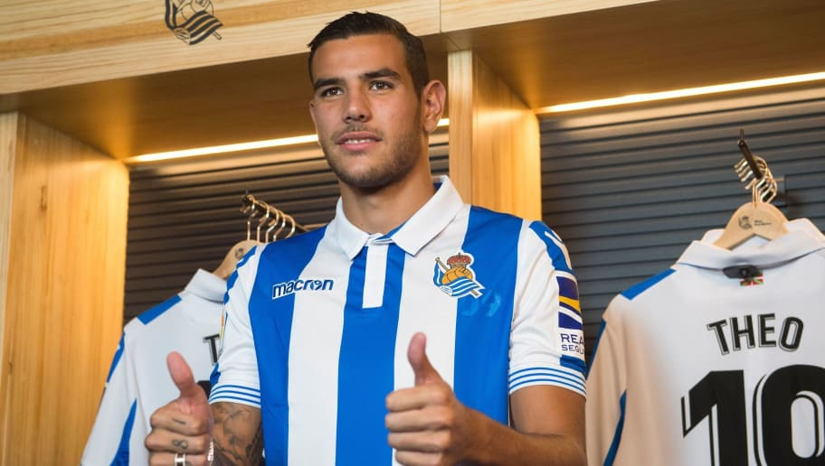 Real Sociedad's new French defender Theo Hernandez poses during his official presentation in the Spanish Basque city of San Sebastian on August 16, 2018. (Photo by ANDER GILLENEA / AFP)        (Photo credit should read ANDER GILLENEA/AFP/Getty Images)