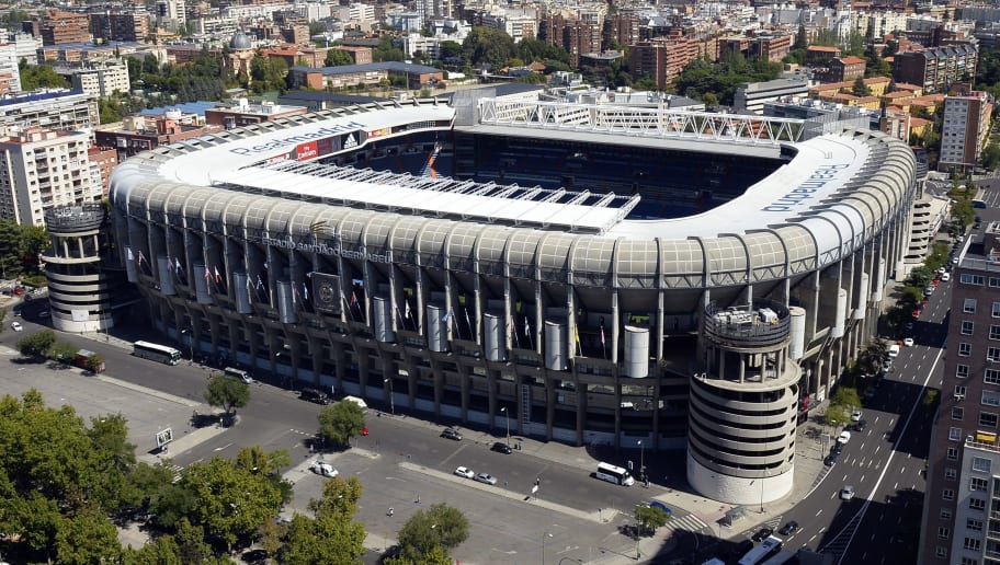 Aerial view of Real Madrid's Santiago Bernabeu Stadium from the top of the Europa Tower in Madrid on September 12, 2013.  AFP PHOTO / GERARD JULIEN        (Photo credit should read GERARD JULIEN/AFP/Getty Images)