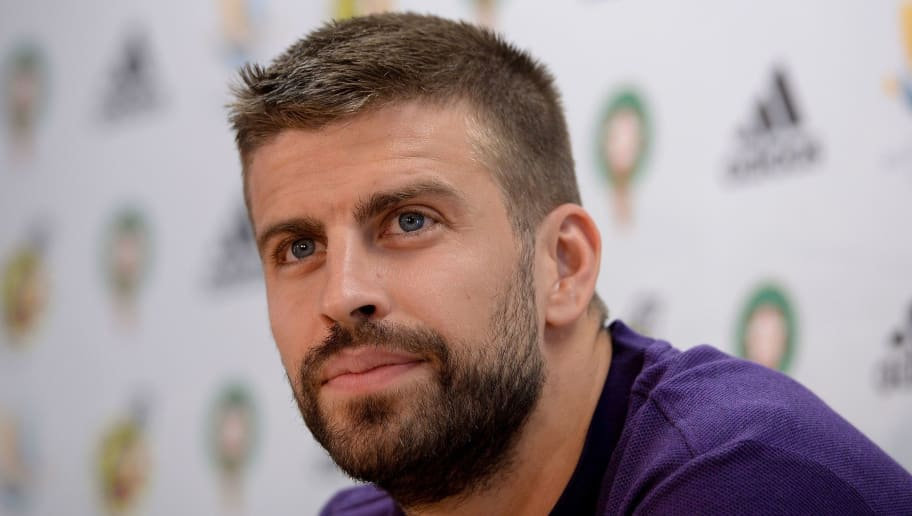 Barcelona's Spanish defender Gerard Pique holds a press conference at the FC Barcelona 'Joan Gamper' sports centre in Sant Joan Despi near Barcelona on August 11, 2018 on the eve of the Spanish Super Cup final football match between Barcelona and Sevilla. (Photo by Josep LAGO / AFP)        (Photo credit should read JOSEP LAGO/AFP/Getty Images)