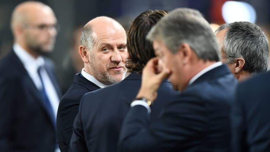 Paris Saint Germain's sporting director Antero Henrique (L) is pictured ahead of the UEFA Champions League Group B football match between RSC Anderlecht and Paris Saint-Germain (PSG) at the Constant Vanden Stock Stadium in Brussels on October 18, 2017. / AFP PHOTO / FRANCK FIFE        (Photo credit should read FRANCK FIFE/AFP/Getty Images)
