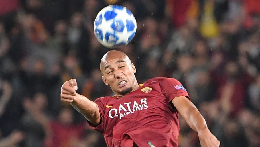 AS Roma French midfielder Steven Nzonzi goes for a header during the UEFA Champions League group G stage football match AS Roma vs CSKA Moscow on October 23, 2018 at the Olympic stadium in Rome. (Photo by Tiziana FABI / AFP)        (Photo credit should read TIZIANA FABI/AFP/Getty Images)