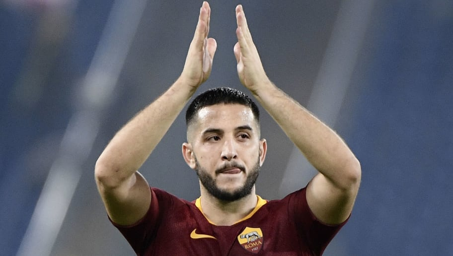 AS Roma Greek defender Konstantinos Manolas acknowledges the public at the end of the UEFA Champions League group G stage football match AS Roma vs CSKA Moscow on October 23, 2018 at the Olympic stadium in Rome. (Photo by Filippo MONTEFORTE / AFP)        (Photo credit should read FILIPPO MONTEFORTE/AFP/Getty Images)