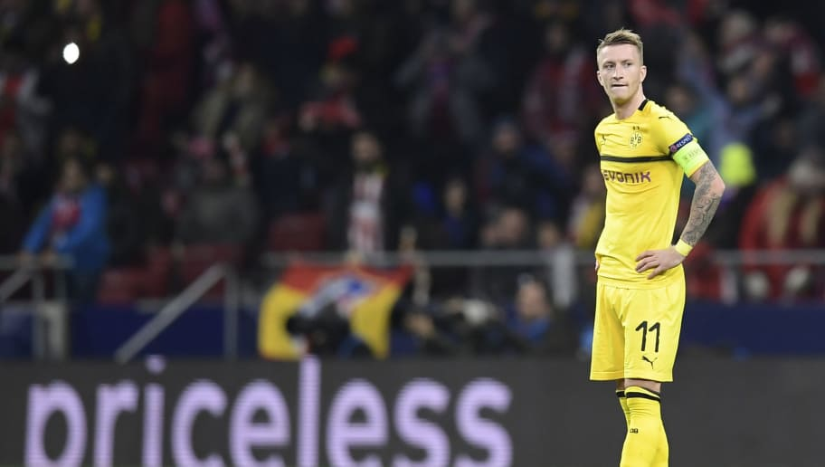 Borussia Dortmund's German forward Marco Reus reacts to Atletico's second goal during the UEFA Champions League group A football match between Club Atletico de Madrid and Borussia Dortmund at the Wanda Metropolitan stadium in Madrid on November 6, 2018. (Photo by OSCAR DEL POZO / AFP)        (Photo credit should read OSCAR DEL POZO/AFP/Getty Images)