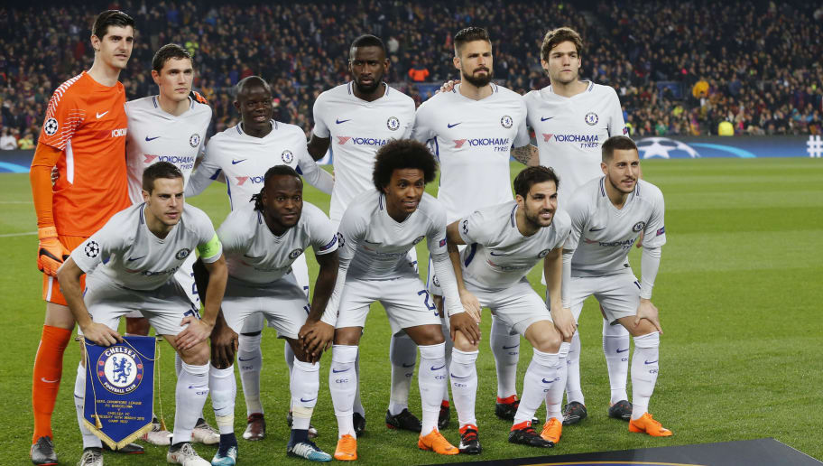 (TOP L-R) Chelsea's Belgian goalkeeper Thibaut Courtois, Chelsea's Danish defender Andreas Christensen, Chelsea's French midfielder N'Golo Kante, Chelsea's German defender Antonio Rudiger, Chelsea's French attacker Olivier Giroud, Chelsea's Spanish defender Marcos Alonso, (BOTTOM L-R) Chelsea's Spanish defender Cesar Azpilicueta, Chelsea's Nigerian midfielder Victor Moses, Chelsea's Brazilian midfielder Willian, Chelsea's Spanish midfielder Cesc Fabregas and Chelsea's Belgian midfielder Eden Hazard pose before the UEFA Champions League round of sixteen second leg  football match between FC Barcelona and Chelsea FC at the Camp Nou stadium in Barcelona on March 14, 2018. / AFP PHOTO / Pau Barrena        (Photo credit should read PAU BARRENA/AFP/Getty Images)