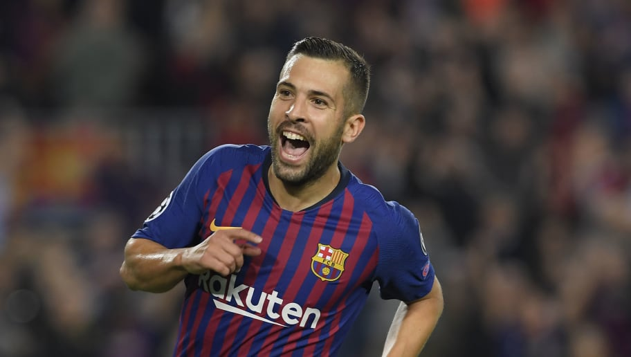 Barcelona's Spanish defender Jordi Alba celebrates after scoring during the UEFA Champions League group B match Barcelona against Inter Milan at the Camp Nou stadium in Barcelona on October 24, 2018. (Photo by LLUIS GENE / AFP)        (Photo credit should read LLUIS GENE/AFP/Getty Images)