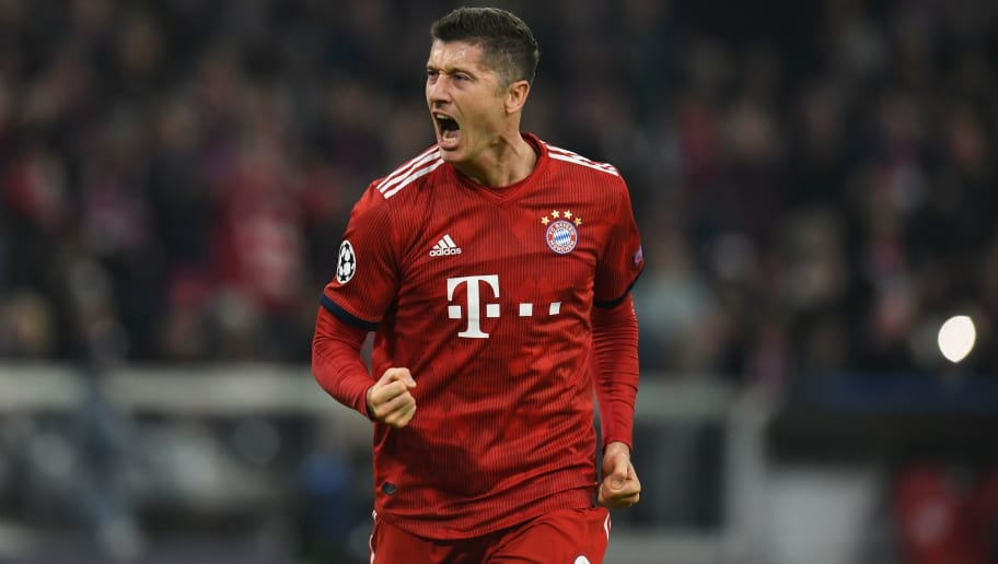 Bayern Munich's Polish forward Robert Lewandowski celebrates scoring the opening goal during the UEFA Champions League Group E football match Bayern Munich v AEK Athens FC in Munich, southern Germany, on November 7, 2018. (Photo by Christof STACHE / AFP)        (Photo credit should read CHRISTOF STACHE/AFP/Getty Images)