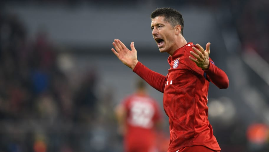 Bayern Munich's Polish forward Robert Lewandowski reacts during the UEFA Champions League Group E football match Bayern Munich v AEK Athens FC in Munich, southern Germany, on November 7, 2018. (Photo by Christof STACHE / AFP)        (Photo credit should read CHRISTOF STACHE/AFP/Getty Images)