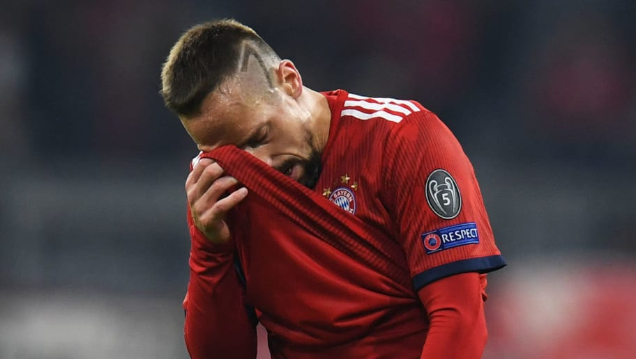 Bayern Munich's French midfielder Franck Ribery reacts during the UEFA Champions League Group E football match Bayern Munich v AEK Athens FC in Munich, southern Germany, on November 7, 2018. (Photo by Christof STACHE / AFP)        (Photo credit should read CHRISTOF STACHE/AFP/Getty Images)