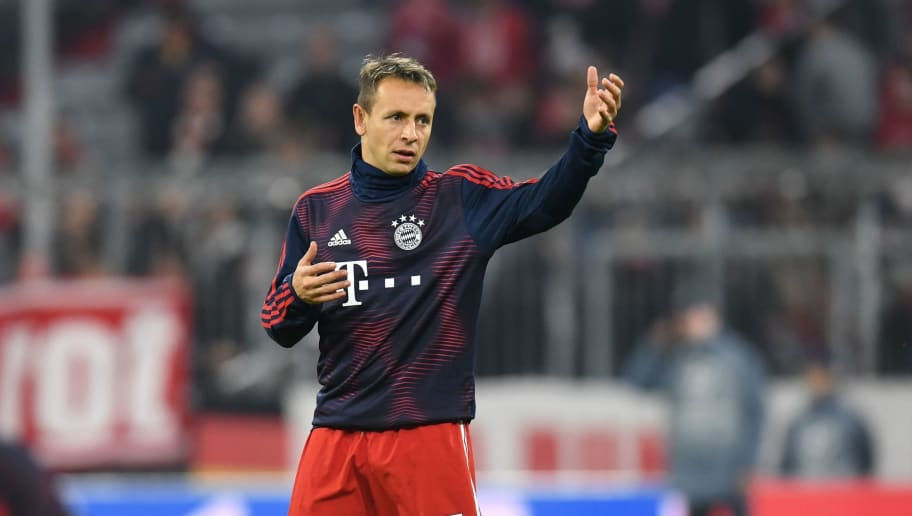 Bayern Munich's Brazilian defender Rafinha is pictured during the warm up prior to the UEFA Champions League Group E football match Bayern Munich v AEK Athens FC in Munich, southern Germany, on November 7, 2018. (Photo by Christof STACHE / AFP)        (Photo credit should read CHRISTOF STACHE/AFP/Getty Images)