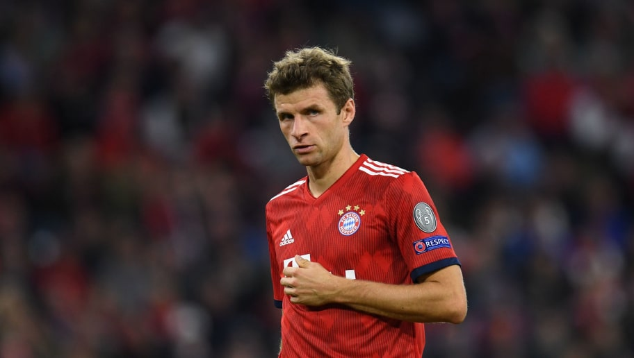 Bayern Munich's striker Thomas Mueller reacts during the UEFA Champions League Group E football match between Bayern Munich and Ajax Amsterdam in Munich, southern Germany, on October 2, 2018. (Photo by Christof STACHE / AFP)        (Photo credit should read CHRISTOF STACHE/AFP/Getty Images)