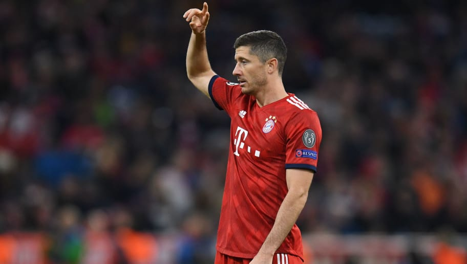 Bayern Munich's Polish striker Robert Lewandowski  gestures during the UEFA Champions League Group E football match between Bayern Munich and Ajax Amsterdam in Munich, southern Germany, on October 2, 2018. (Photo by Christof STACHE / AFP)        (Photo credit should read CHRISTOF STACHE/AFP/Getty Images)