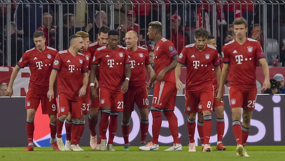 Bayern Munich's team celebrates scoring the 1-0 during the UEFA Champions League Group E football match between Bayern Munich and Ajax Amsterdam in Munich, southern Germany, on October 2, 2018. (Photo by GUENTER SCHIFFMANN / AFP)        (Photo credit should read GUENTER SCHIFFMANN/AFP/Getty Images)