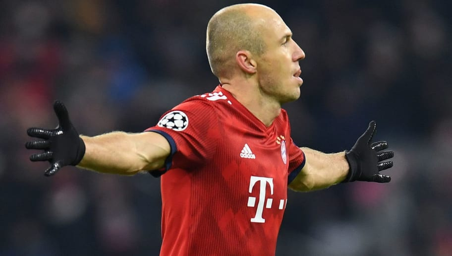 Bayern Munich's Dutch midfielder Arjen Robben celebrates scoring the 2-0 goal during the UEFA Champions League Group E football match Bayern Munich vs Benfica Lisbon in Munich, southern Germany, on November 27, 2018. (Photo by Christof STACHE / AFP)        (Photo credit should read CHRISTOF STACHE/AFP/Getty Images)