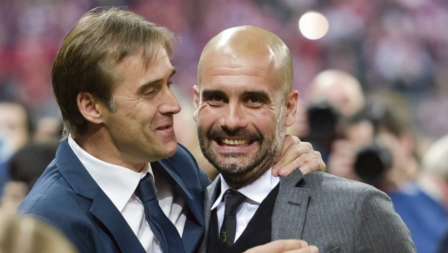 Porto's Spanish headcoach Julen Lopetegui (L) and Bayern Munich's Spanish head coach Josep Guardiola greet each other prior to the UEFA Champions League second-leg quarter-final football match Bayern Munich v FC Porto in Munich, southern Germany on April 21, 2015. AFP PHOTO / GUENTER SCHIFFMANN        (Photo credit should read GUENTER SCHIFFMANN/AFP/Getty Images)