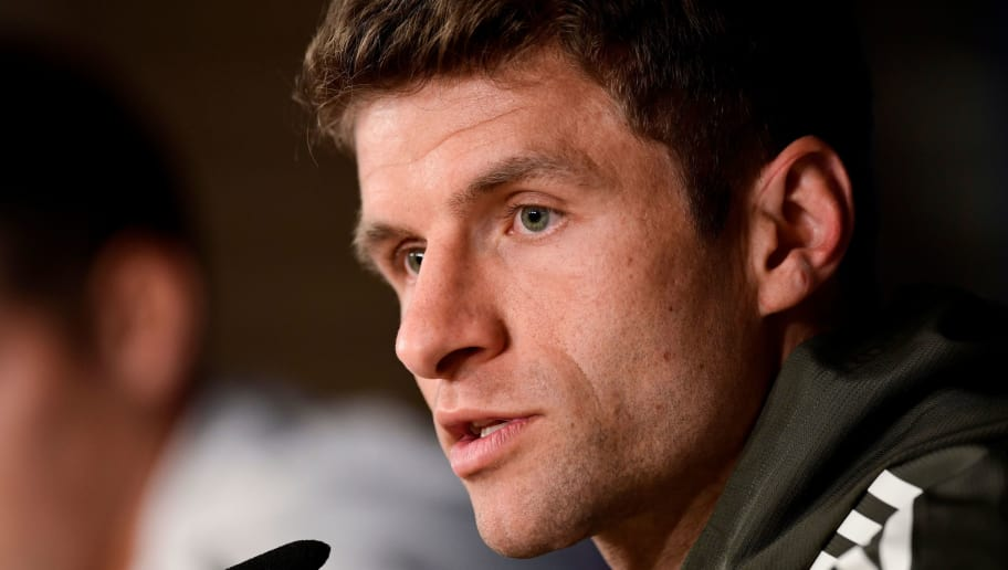 Bayern Munich's German forward Thomas Mueller holds a press conference at the Santiago Bernabeu Stadium in Madrid on April 30, 2018 on the eve of the UEFA Champions League semi-final second-leg football match between Real Madrid and Bayern Munich. (Photo by JAVIER SORIANO / AFP)        (Photo credit should read JAVIER SORIANO/AFP/Getty Images)