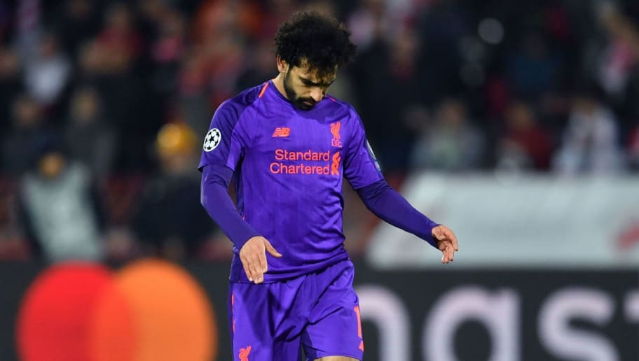 Liverpool's Egyptian forward Mohamed Salah  reacts  during the UEFA Champions League Group C second-leg football match between Red Star Belgrade and Liverpool FC at the Rajko Mitic Stadium in Belgrade on November 6, 2018. (Photo by Andrej ISAKOVIC / AFP)        (Photo credit should read ANDREJ ISAKOVIC/AFP/Getty Images)