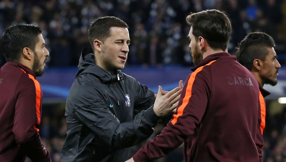 Chelsea's Belgian midfielder Eden Hazard (2nd L) winks at Barcelona's Argentinian striker Lionel Messi as they shake hands ahead of the first leg of the UEFA Champions League round of 16 football match between Chelsea and Barcelona at Stamford Bridge stadium in London on February 20, 2018. / AFP PHOTO / IKIMAGES / Ian KINGTON        (Photo credit should read IAN KINGTON/AFP/Getty Images)