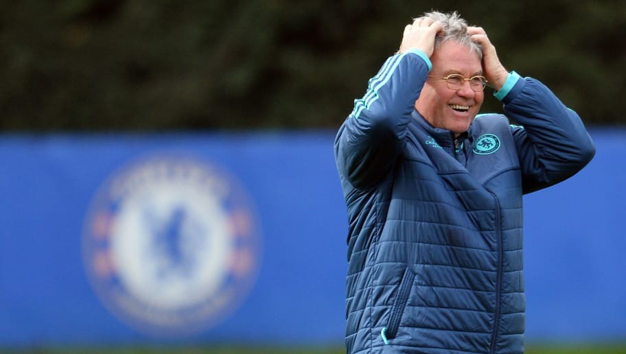 Chelsea's Dutch interim manager Guus Hiddink smiles as he leads a training session at Chelsea's Cobham training facility in Stoke D'Abernon, southwest of London, on March 8, 2016 ahead of their UEFA Champions League, round of 16 second leg football match against Paris Saint Germain.    / AFP / GLYN KIRK        (Photo credit should read GLYN KIRK/AFP/Getty Images)