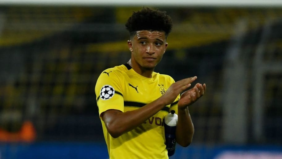 Dortmund's English midfielder Jadon Sancho applauds as he goes off during the UEFA Champions League Group A football match BVB Borussia Dortmund v AS Monaco in Dortmund, western Germany on October 3, 2018. (Photo by Ina Fassbender / AFP)        (Photo credit should read INA FASSBENDER/AFP/Getty Images)