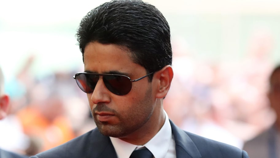 PSG's Qatari president Nasser Al-Khelaïfi arrives to attend the draw for UEFA Champions League football tournament at The Grimaldi Forum in Monaco on August 30, 2018. (Photo by Valery HACHE / AFP)        (Photo credit should read VALERY HACHE/AFP/Getty Images)