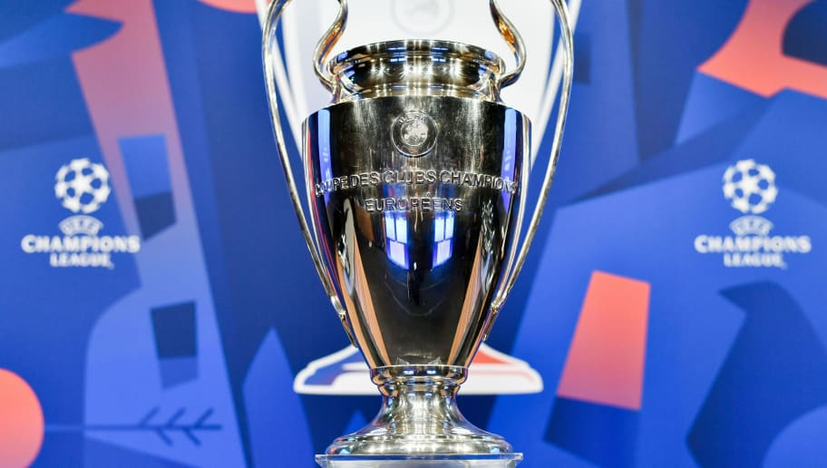 The UEFA Champions League football cup is displayed prior to the draw for the round of 16 of the UEFA Champions League football tournament at the UEFA headquarters in Nyon on December 17, 2018. (Photo by Fabrice COFFRINI / AFP)        (Photo credit should read FABRICE COFFRINI/AFP/Getty Images)