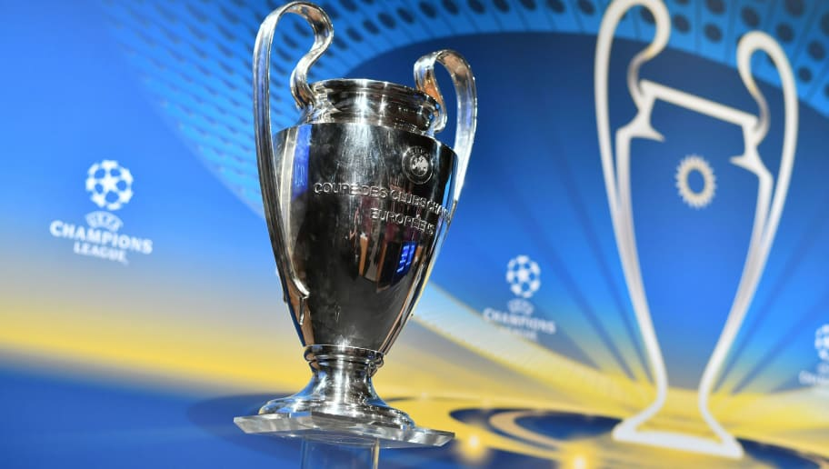 This photograph taken on April 13, 2018, shows the UEFA Champions League football cup ahead of the draw for the semi-finals round of the UEFA Champions League football tournament at the UEFA headquarters in Nyon.  / AFP PHOTO / Fabrice COFFRINI        (Photo credit should read FABRICE COFFRINI/AFP/Getty Images)