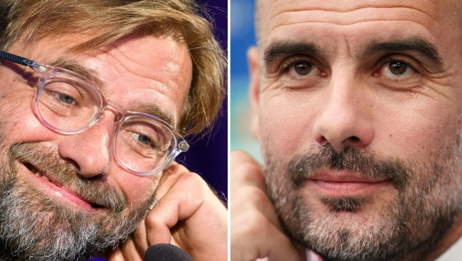 A combination of pictures created in London on April 2, 2018 shows Liverpools head coach Jurgen Klopp holds (L) at a press conference on the eve of the UEFA Champions League Group E football match between Maribor and Liverpool on October 16, 2017, in Maribor and Manchester City's Spanish coach Pep Guardiola (R) at a press conference on the eve of the UEFA Champions League football match Napoli vs Manchester City, on October 31, 2017 in Naples. Jurgen Klopp has no qualms about saluting Pep Guardiola's ability to create 'extraordinary' teams, but the Liverpool boss is convinced he can bridge the class divide when Manchester City visit Anfield for their Champions League showdown. Having first gone head to head with Borussia Dortmund and Bayern Munich, the friendly rivalry between Klopp and Guardiola has its biggest stage yet as Liverpool face City in the Champions League quarter-final first leg on on April 4, 2018.  / AFP PHOTO / Jure Makovec AND Carlo HERMANN        (Photo credit should read JURE MAKOVEC,CARLO HERMANN/AFP/Getty Images)