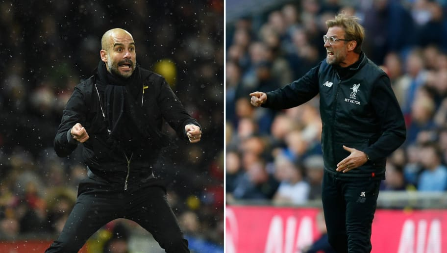 A combination of pictures created in London on April 2, 2018 shows Manchester City's Spanish manager Pep Guardiola (L) gesturing from the touchline during the English Premier League football match between Manchester United and Manchester City at Old Trafford in Manchester, north west England, on December 10, 2017 and Liverpool's German manager Jurgen Klopp (R) gesturing on the touchline after Salah scores their first goal during the English Premier League football match between Tottenham Hotspur and Liverpool at Wembley Stadium in London, on October 22, 2017. Jurgen Klopp has no qualms about saluting Pep Guardiola's ability to create 'extraordinary' teams, but the Liverpool boss is convinced he can bridge the class divide when Manchester City visit Anfield for their Champions League showdown. Having first gone head to head with Borussia Dortmund and Bayern Munich, the friendly rivalry between Klopp and Guardiola has its biggest stage yet as Liverpool face City in the Champions League quarter-final first leg on on April 4, 2018.  / AFP PHOTO / AFP PHOTO AND IKIMAGES / Ian KINGTON AND Oli SCARFF        (Photo credit should read IAN KINGTON,OLI SCARFF/AFP/Getty Images)