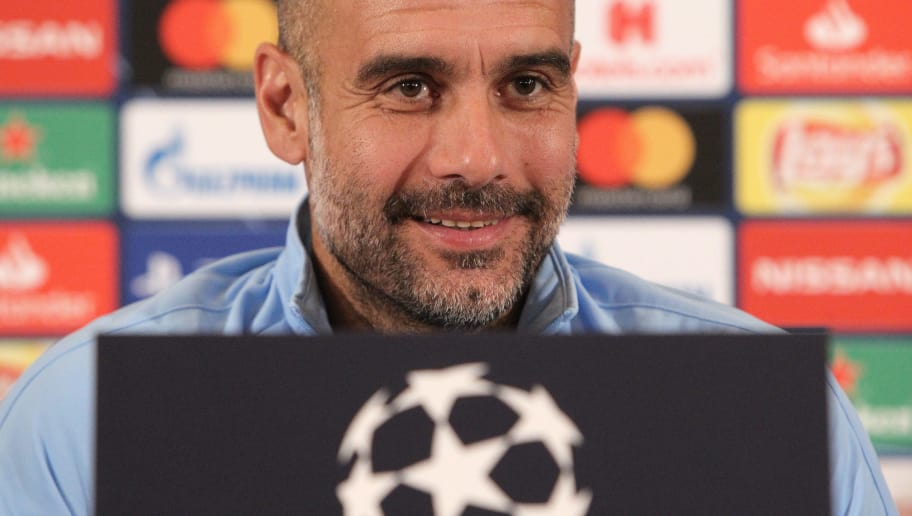 Manchester City's Spanish manager Pep Guardiola addresses a press conference on the eve of the UEFA Champions League Group F football match TSG 1899 Hoffenheim v Mancherster City in Walldorf, near Heidelberg southern Germany, on October 1, 2018. (Photo by Daniel ROLAND / AFP)        (Photo credit should read DANIEL ROLAND/AFP/Getty Images)