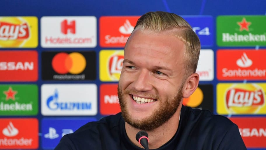 Hoffenheim's German midfielder Kevin Vogt smiles during a press conference at the OSK Metalist stadium in Kharkiv on September 18, 2018, on the eve of the UEFA Champions League Groupe F football match FC Shakhtar Donetsk vs Hoffenheim. (Photo by SERGEI SUPINSKY / AFP)        (Photo credit should read SERGEI SUPINSKY/AFP/Getty Images)
